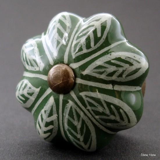 Nábytková úchytka zelená s bílým ornamentem 4,2 cm - knopka