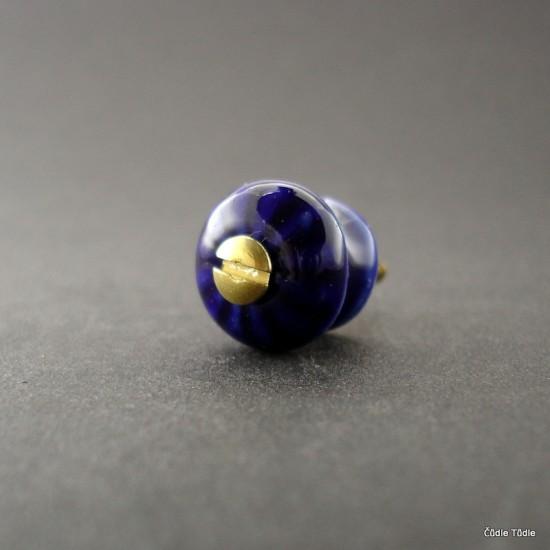 Nábytková knopka tmavě  modrá 1,4 cm s vrutem- úchytka