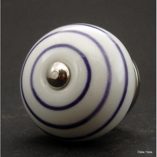 Nábytková úchytka bílá s fialovými proužky  4 cm - knopka