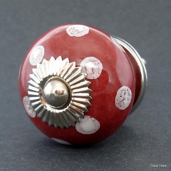 Nábytková úchytka vínová s bílými puntíky 4 cm - knopka