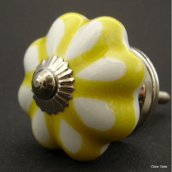 Nábytková úchytka bílá se žlutou konturou 4,2 cm - knopka