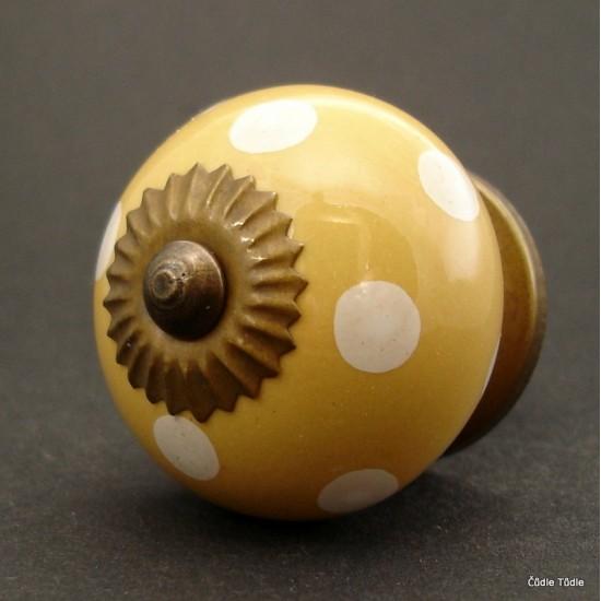 Nábytková úchytka světle oranžová s bílými puntíky 4 cm - knopka