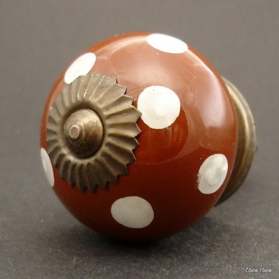 Nábytková úchytka tmavě hnědá s bílými puntíky 4 cm - knopka