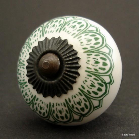 Nábytková úchytka bílá s tmavě zeleným ornamentem 4 cm - knopka