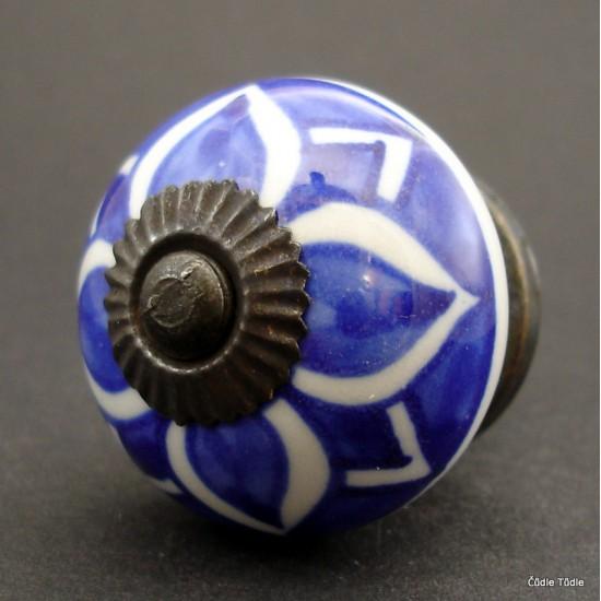 Nábytková úchytka tmavě modrá s bílou kresbou 4 cm - knopka