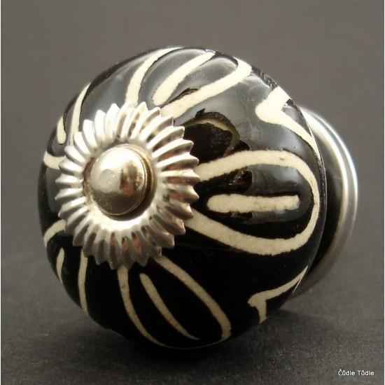 Nábytková úchytka černá s reliéfní glazurou- 4 cm - knopka