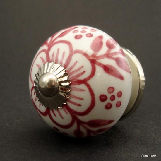 Nábytková úchytka bílá s růžovou kresbou 4 cm - knopka