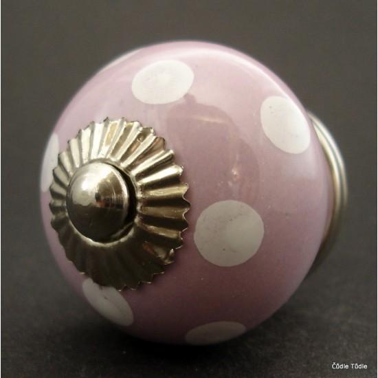 Nábytková úchytka světle fialová s bílými puntíky 4 cm -knopka