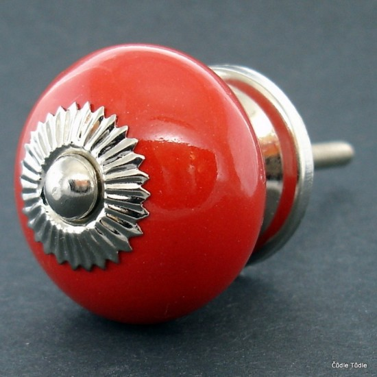 Nábytková úchytka červená 3,7 cm - knopka